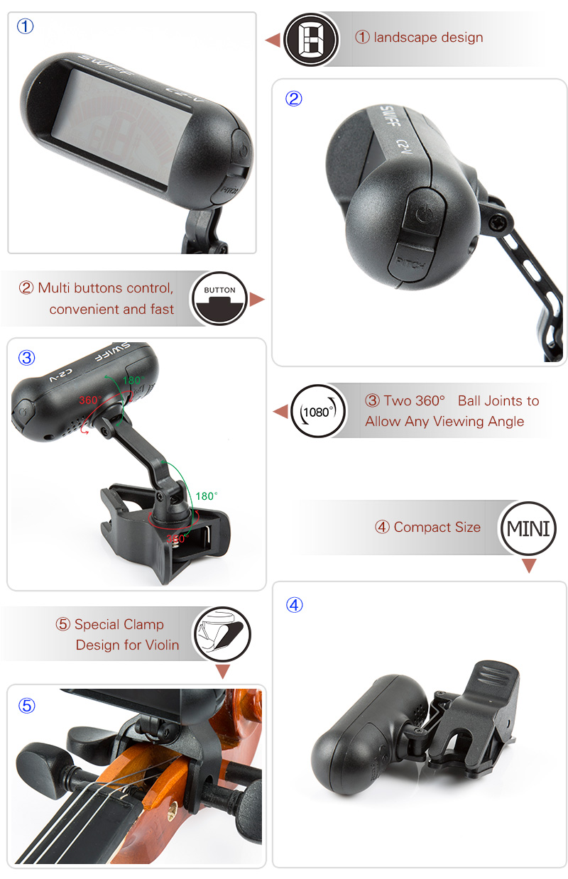 C2-V Tuner clip special for violin Two 360°   -Clip-on Tuner