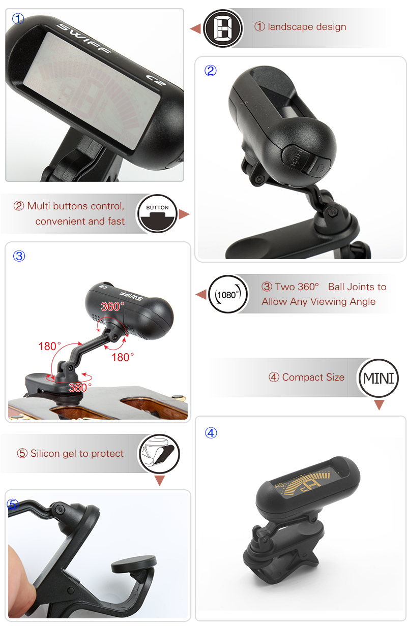 C2 Two 360°ball joints rotation..-Clip-on Tuner-SWIFF..